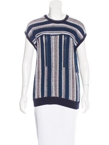 Tory Burch Open-Knit Sleeveless Top w/ Tags None