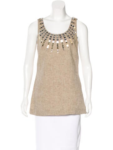 Tory Burch Linen Embellished Top None