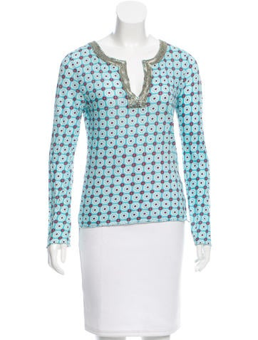 Tory Burch Printed Embellished Top None