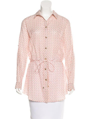 Tory Burch Printed Belted Top