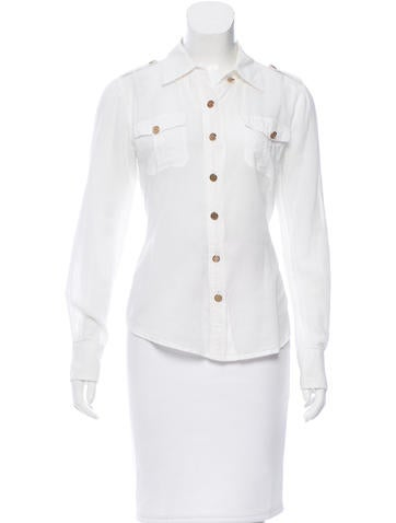 Tory Burch Button-Up Long Sleeve Top