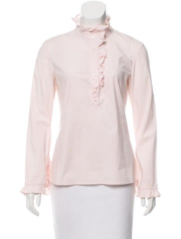 Tory Burch Ruffle-Accented Button-Up Top None