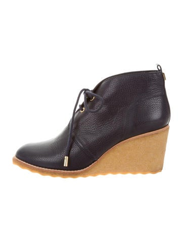 Tory Burch Leather Wedge Ankle Boots None