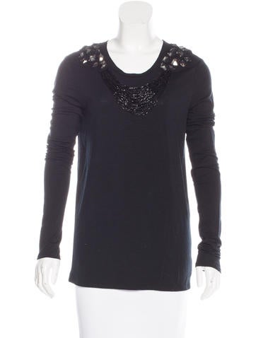 Tory Burch Embellished Wool Top; None