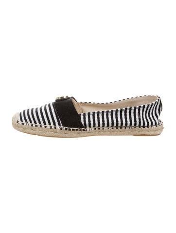 Tory Burch Logo Striped Espadrille Flats None
