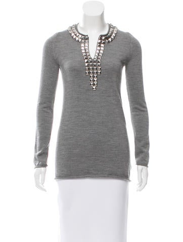 Tory Burch Embellished Wool Top None