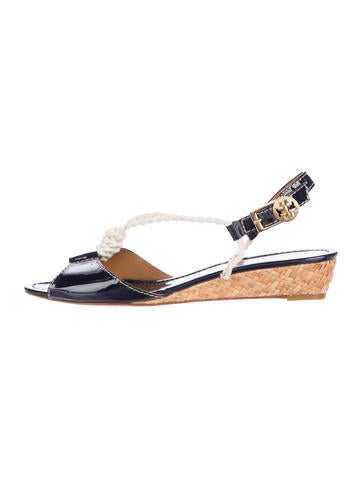 Tory Burch Patent Leather Wedge Sandals None
