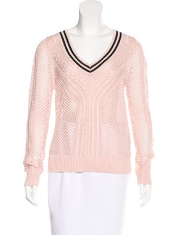 Tory Burch V-Neck Open Knit Sweater None