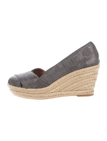 Tory Burch Metallic Espadrille Wedges None