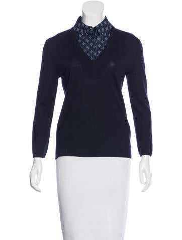 Tory Burch Wool V-Neck Top None