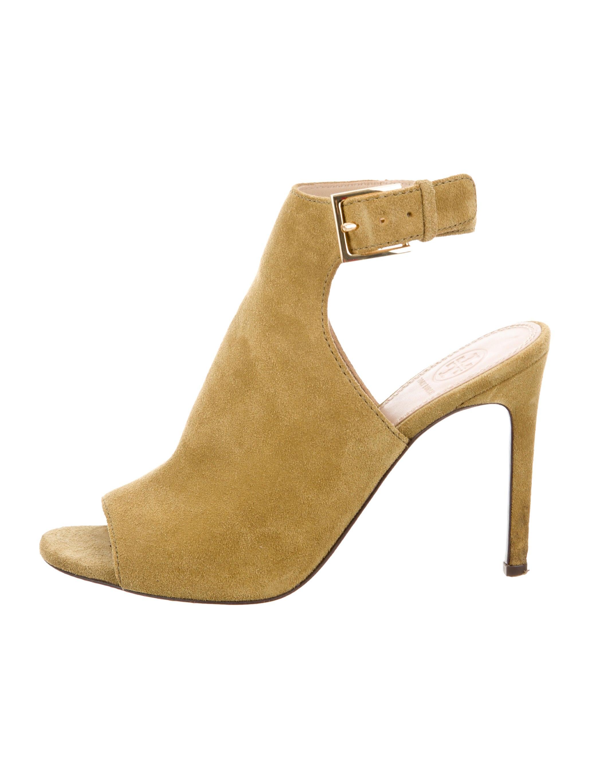 b9cdaf10f Tory Burch Suede Peep-Toe Booties - Shoes - WTO83429