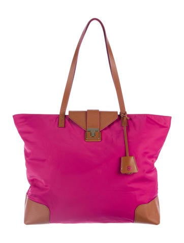 Tory Burch Leather-Trimmed Nylon Tote None