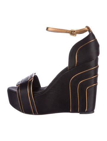 Tory Burch Satin Platform Wedges None