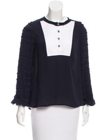 Tory Burch Long Sleeve Ruffle-Accented Top None