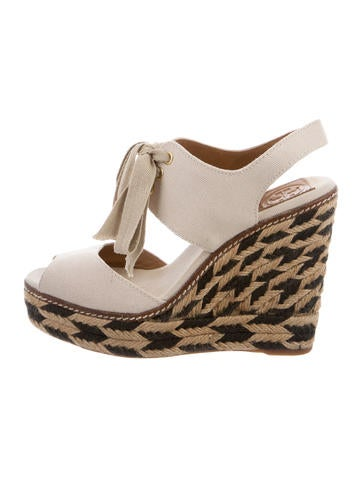 Tory Burch Lace-Up Espadrille Wedges None