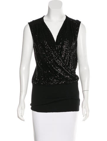 Tory Burch Sequin Wool Top None