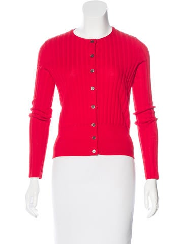 Tory Burch Rib Knit Long Sleeve Cardigan None