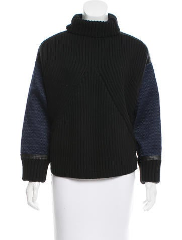 Tory Burch Leather-Trimmed Silk Sweater None