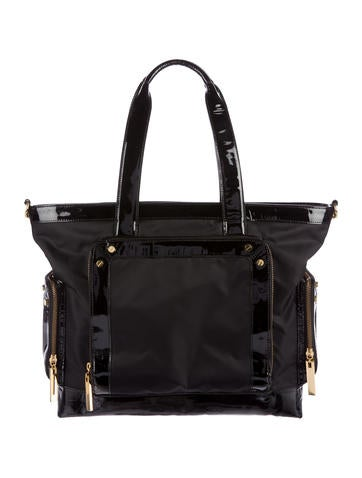 Tory Burch Patent Leather-Trimmed Tote None