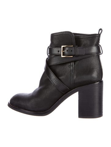 Tory Burch Leather Round-Toe Ankle Boots None