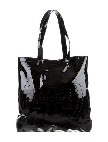 Tory Burch Patent Leather Perforated Tote None