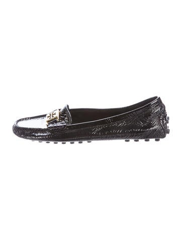 Tory Burch Patent Leather Round-Toe Loafers None