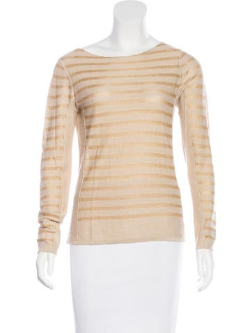 Tory Burch Metallic Striped Top None