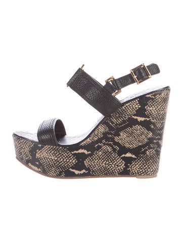 Tory Burch Leather Wedge Sandals None