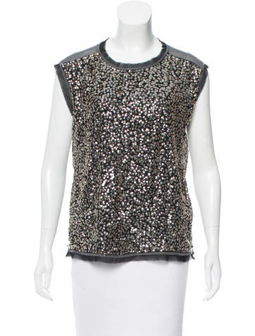 Tory Burch Silk Sequin-Embellished Top None