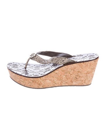 Tory Burch Embossed Wedge Sandals None