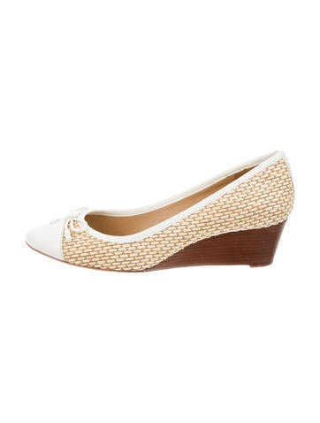 Tory Burch Woven Round-Toe Wedges None