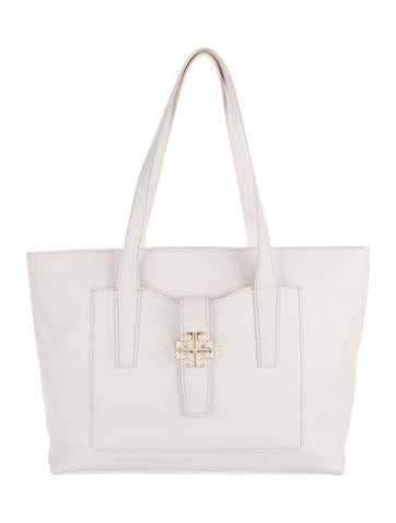 Tory Burch Logo-Embellished Leather Tote None