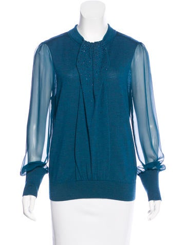 Tory Burch Crystal-Embellished Wool Top None