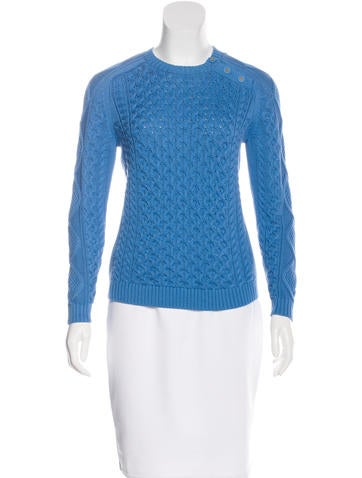 Tory Burch Long Sleeve Cable-Knit Sweater None