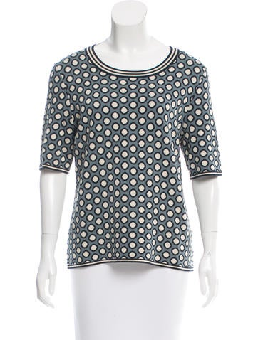 Tory Burch Intarsia Scoop Neck Top None