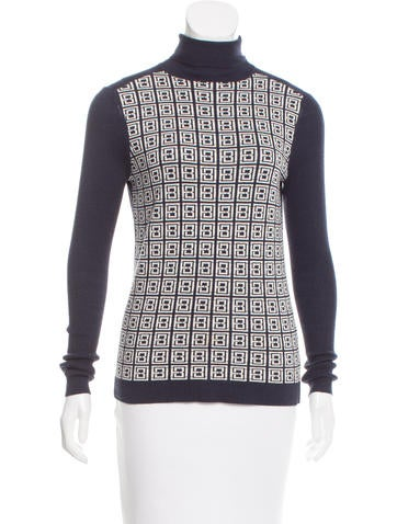 Tory Burch Silk-Blend Patterned Sweater None