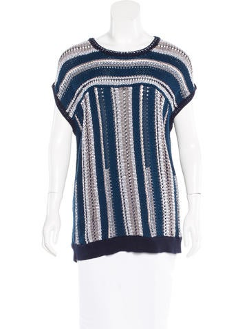 Tory Burch Striped Short Sleeve Sweater None