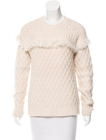 Tory Burch Fringe-Trimmed Crew Neck Sweater None