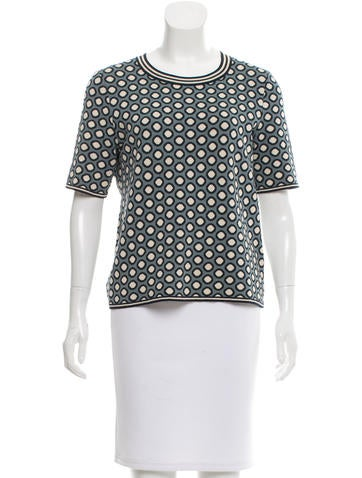 Tory Burch Polka Dot Crew Neck Top None