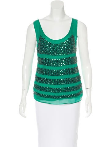 Tory Burch Embellished Silk Top None