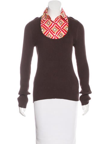 Tory Burch Collared Sweater Top None