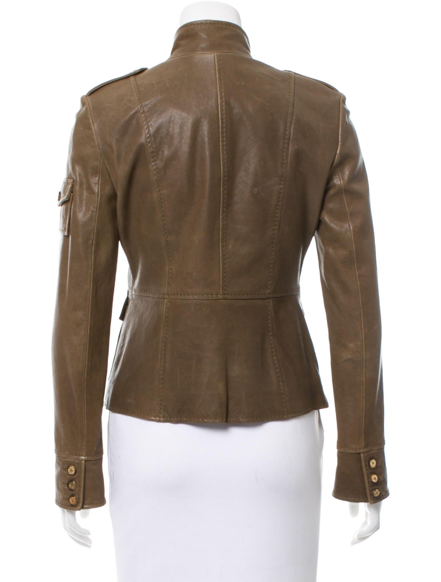 Tory Burch Leather Button-Up Jacket - Clothing - WTO88918 ...