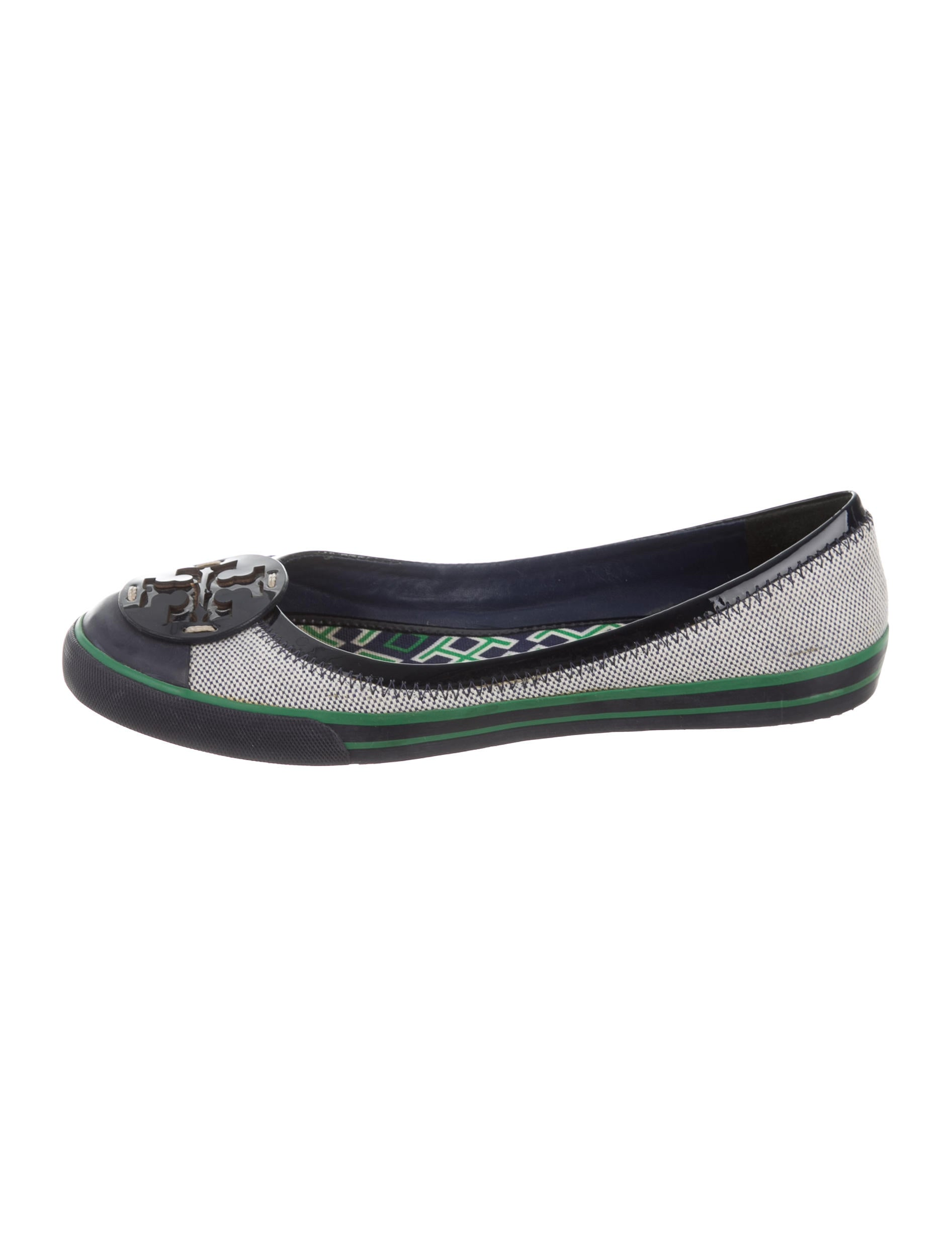 burch canvas logo flats shoes wto89305 the realreal