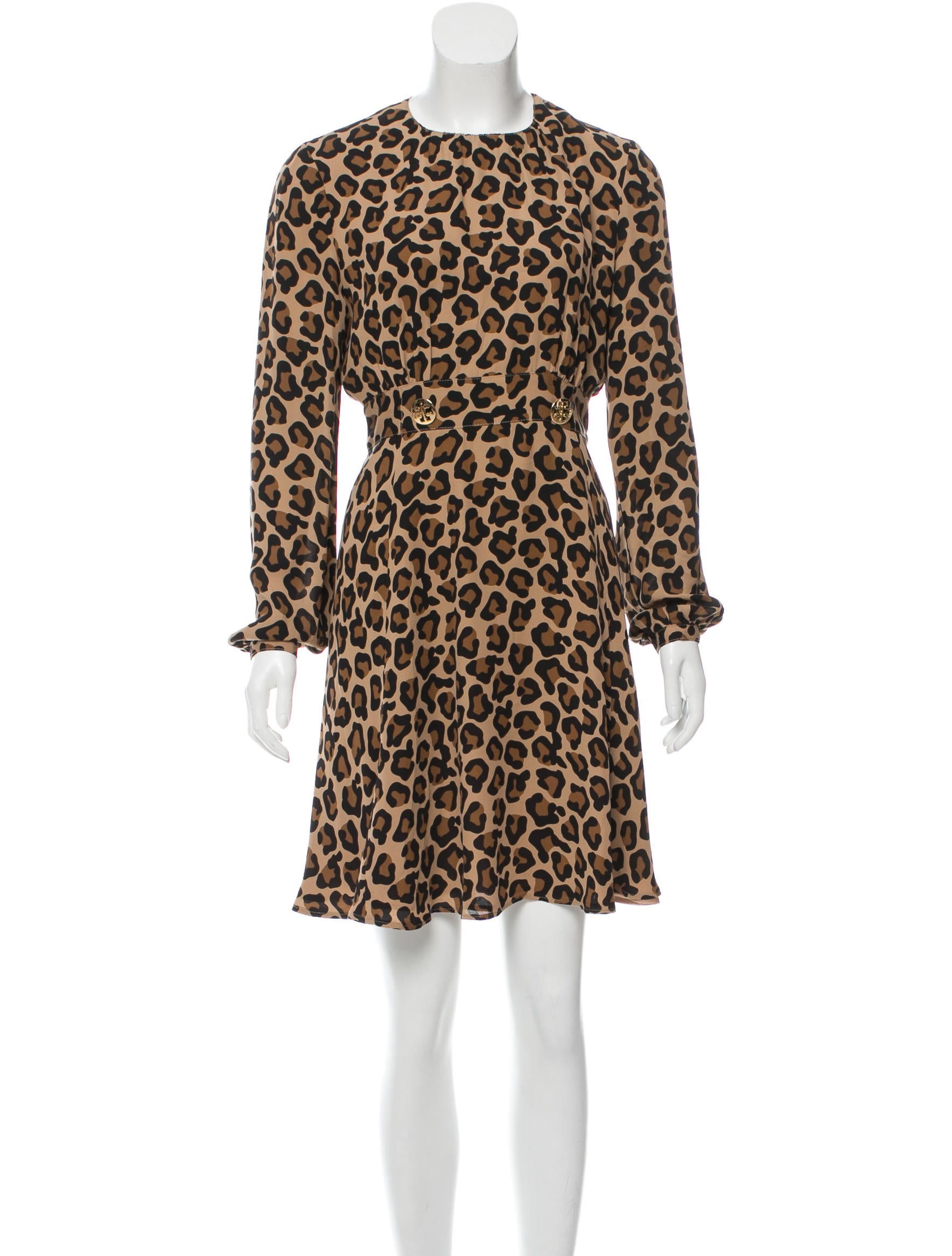 Tory Burch Leopard Printed Silk Dress Clothing