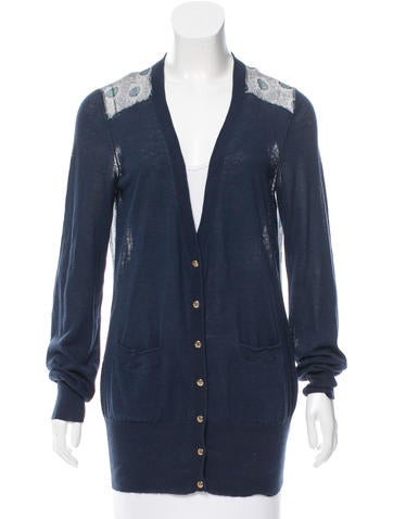 Tory Burch Silk-Paneled Knit Cardigan None
