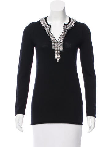 Tory Burch Stud-Embellished Wool Top None