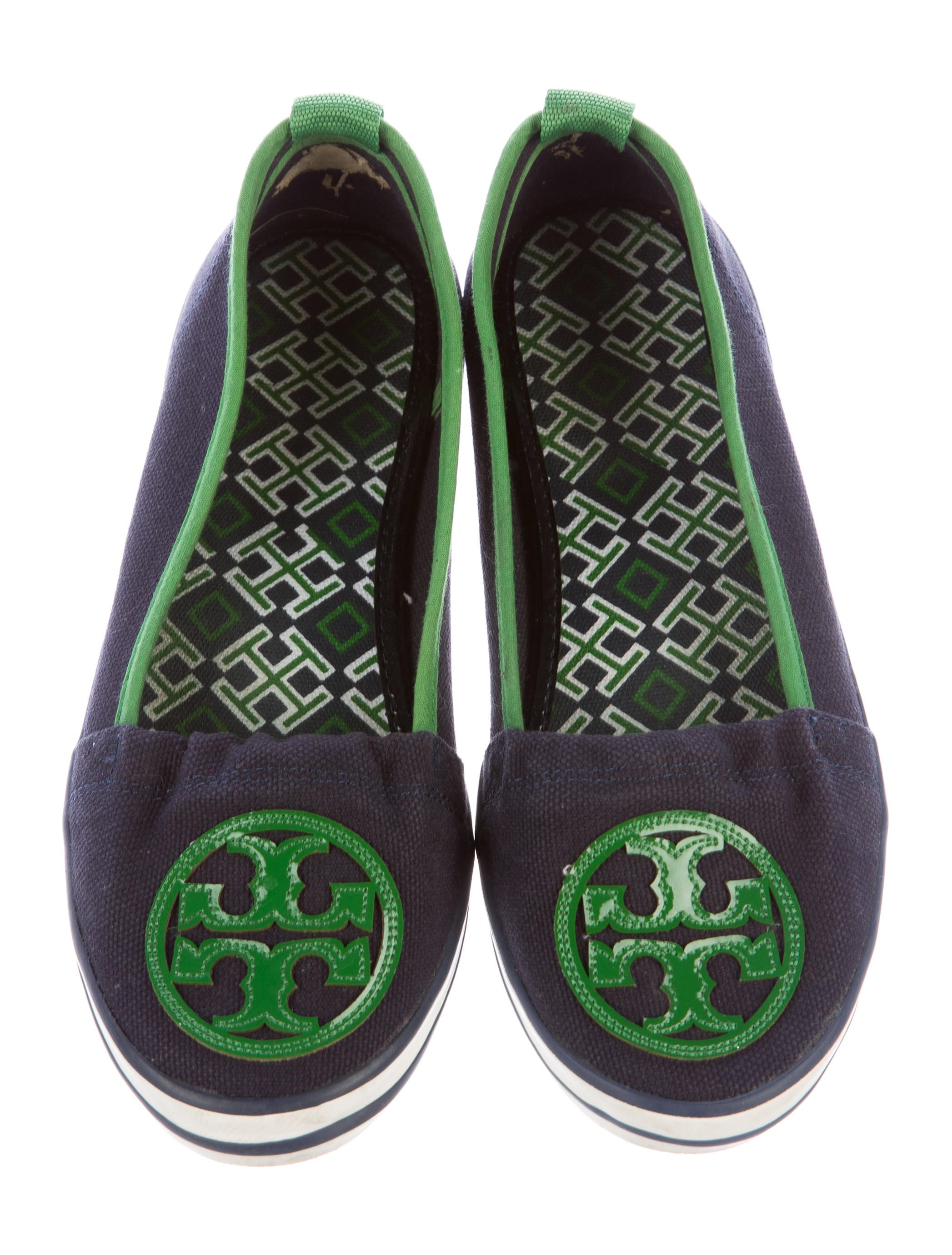 burch canvas logo flats shoes wto90214 the realreal