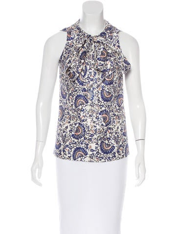 Tory Burch Silk Abstract Print Top None
