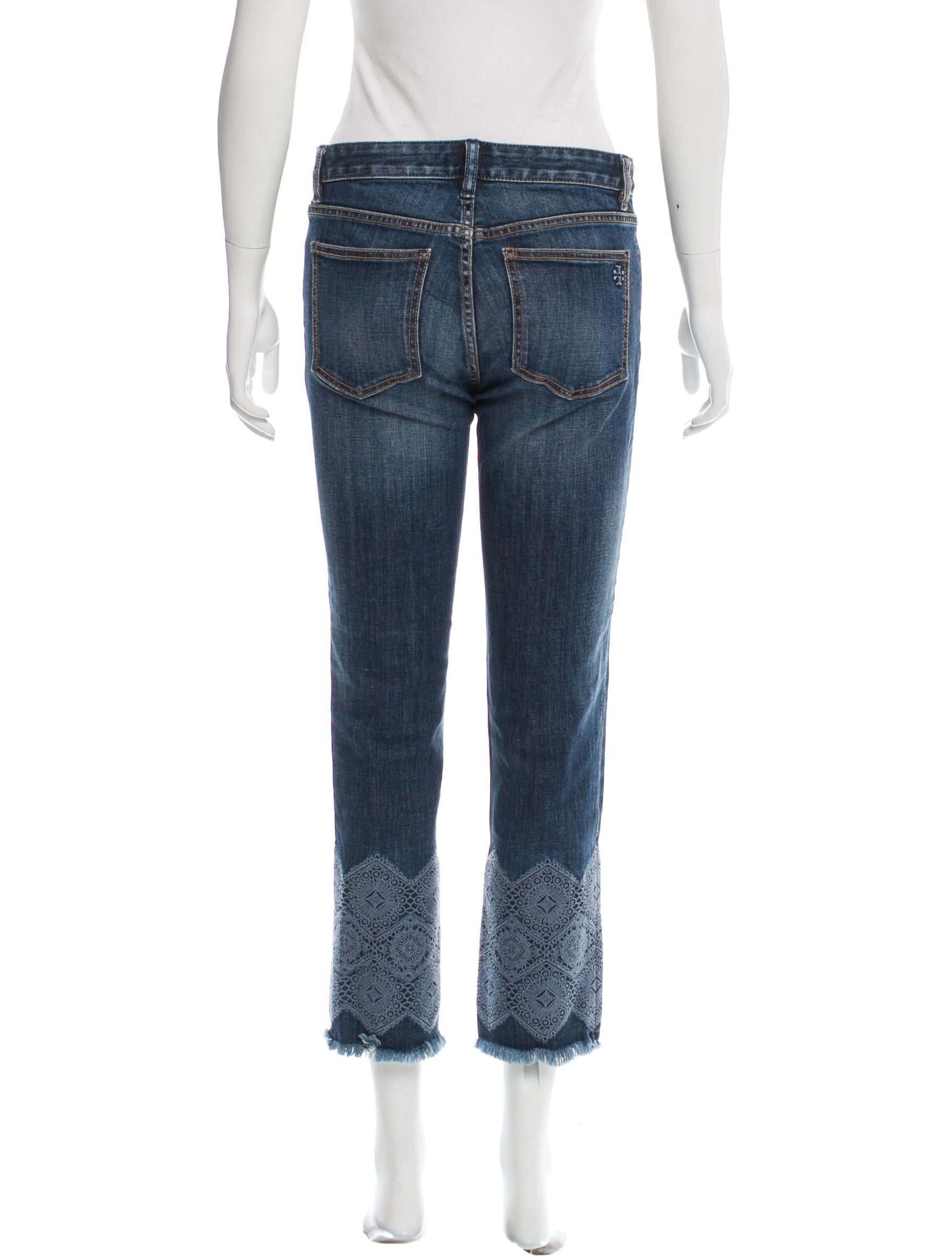 Tory burch embroidered straight leg jeans clothing