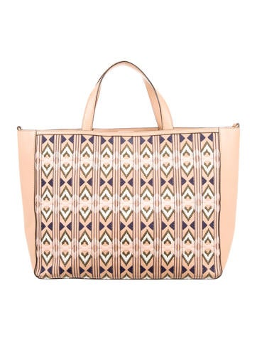 Tory Burch Embroidered Accented Leather Tote None
